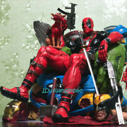 Deadpool Resin Model Painted Statue In Stock Throne Figure Collection Sculpture