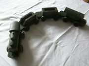 Vintage 1930's Wooden Lner Toy Train Engine And 3 Trucks Collectors Item Rare