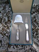 Georg Jensen Pyramid Cheese Knife And Plane Set Sterling In Original Gj Box