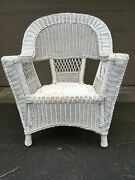 Vintage Antique Natural Real White Wicker Armchair Porch Furniture Sturdy Large