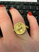 Temple St Clair 18k Gold Horse Coin Ring With Diamonds