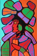 Norval Morrisseau Limited Edition Mother Earth As Young Woman Mounted Canvas Coa