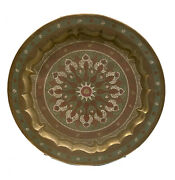28 Middle Eastern Egyptian Copper And Enamel Charger Tray Platter Mid Century