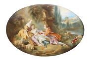 After Franandccedilois Boucher 1703-1770 A French Oval Porcelain Plaque