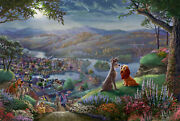 Thomas Kinkade Studios Lady And The Tramp Falling In Love 18 X 27 Le G/p Framed