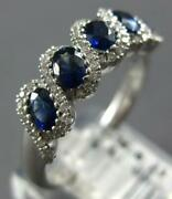 1.23ct Diamond And Aaa Sapphire 18k White Gold Oval Infinity Love Anniversary Ring