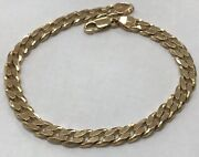 Heavy Solid 14k Yellow Gold 9andrdquo Cuban Link 7mm Chain Bracelet 21.8 Grams