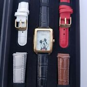 Disney Limited Edition Minnie Mickey Mouse Leather Watch Set 5 Bands By Accutime