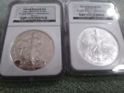 2006 P/w Ms69 And Pf69 Reverse Proof American Silver Eagle 20th Anniversary Ngc