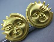 Estate Large 18kt Yellow Gold 3d Classic Happy Sun Fun Clip On Earrings