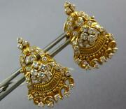 Large 1.50ct Diamond 22kt Yellow Gold Filigree Floral Clip On Hanging Earrings