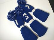3 Knitted Royal Blue And White Golf Covers Fits Old Woods Irons Hybrids Sku41
