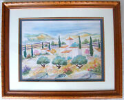 Magassa The Farm In Provence Original Painting Watercolor Framed Artwork