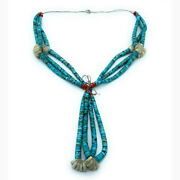 Vintage 1960s Navajo Turquoise Shell Heishi And Red Coral Jacla 3-strand Necklace