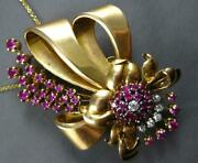 Antique Extra Large 5.52ct Diamond And Aaa Ruby 18kt Rose Gold Bow Brooch Pendant