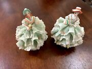 Pair Irish Dresden Porcelain Lace Figurines Syiva And Lydia Emerald Collection