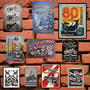Motorcycle Metal Tin Signs Vintage Poster Club Retro Mounted Home Wall Plaque