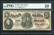 Fr. 77 1880 5 Andldquowoodchopperandrdquo Legal Tender United State Note Pmg Very Fine-20