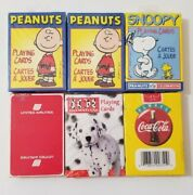 6 Decks Vintage Playing Cards/ Snoopy Coca Cola United Airline Peanuts- New