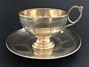Antique Imperial Russian Niello Sterling Silver Cup And Saucer P. Abrosimov