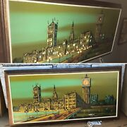 Vtg Mid-century Modern Lighted Carlo Of Hollywood Big Ben And Ashbrook Paintings
