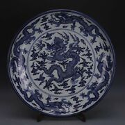 Chinese Xuande Marked Blue And White Porcelain Painting Nine Dragon Plate 24.4