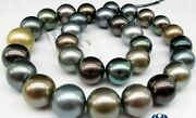 Huge 1812-15mm Round South Sea Black Peacock Gold Multico Pearl Necklace Aaa