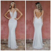 Noel And Jean Katie May Oh Baby Plunging Lace Open Back Trumpet Gown White Size L