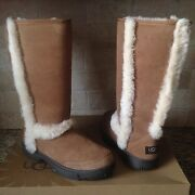 Ugg Sunburst Tall Chestnut Water-resistant Suede Fur Boots Size Us 11 Womens
