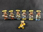 Rare Vintage Chef Mickey Mouse Hand Painted Porcelain Lot Of Six Plus Vint. Pin