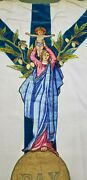 Vintage Virgin Mary And Child Jesus Emblem Needlework Embroidered Panel And Stole