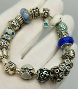 Pandora Bracelet Size 7 Inch 19 Authentic Charms Sterling Silver Ladys Womens