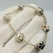 Authentic Pandora Bracelet Size 7 Inch 5 Charms Ale 925 Sterling Silver Womens