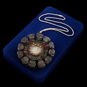 Antique Vintage Georgian 800 Sterling Silver Spanish Catholic Reliquary Necklace