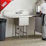 1 Compartment Stainless Steel Commercial Kitchen Nsf Sink With 2 Drainboards 54