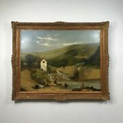 Large 19th Century Continental Oil On Canvas Of Farm Land
