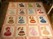 Hand Quilted Sunbonnet Sue Quilt Embroidery Feedsack Cotton Colorful 84andrdquox 82andrdquo