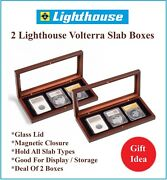 2 Lighthouse Wood Display Storage Boxes - 3 Graded Certified Coin Slabs Ngc Pcgs