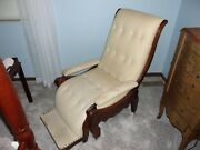 Antique 1865 Chase/reclining Wood/fabric Chair Circa 1865 Vgc