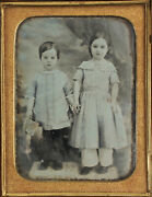 Beautifully Tinted 4th Plate Daguerreotype Of Young Children. Full Union Case.