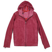 Nwt 3350 Isaia Double-faced Hooded Suede Leather Jacket M Eu 50 Hoodie