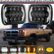 2pcs 7x6 5x7 Led Headlights With Drl And Turning Signal For Dodge D150 D250 D350