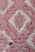 Antique C1810-20 French Faded Cotton Frame Fabricindigo And Turkey Red35x33