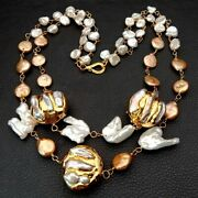Natural Cultured Keshi Pearl 24 K Yellow Gold Plated Pearl Statement Necklace
