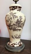 Vintage A J Wilkinson Royal Staffordshire Pottery Table Lamp Chinoiserie Style