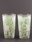 Mid-century Vintage Anchor Hawking Green Leaf Frosted Glasses
