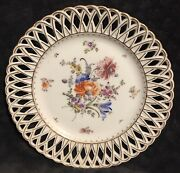 Antique Helena Wolfsohn Crown Dresden Reticulated Floral Cabinet Plate