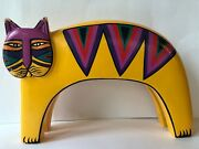 Vtg Laurel Burch Cat Hand Painted Wood Sculpture Yellow Indonesia Carved 11