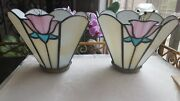 2 Vtg Stained Slag Glass Lamp Shades Globes Pink Tulip Flower Boho Chic Rustic