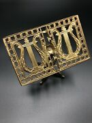 Vintage Brass Miniature Claw Foot Music Stand - Gold Harp Ornate Collectible